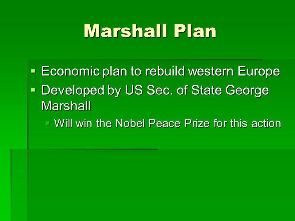 Marshall Plan Economic plan to rebuild western Europe