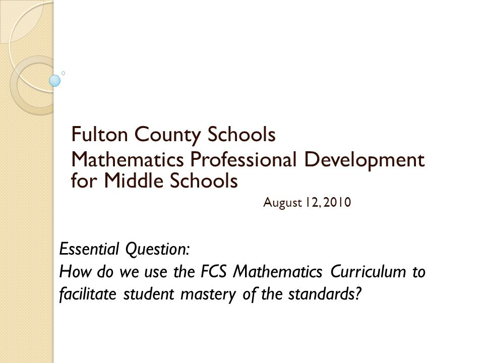 Mathematics Professional Development for Middle Schools