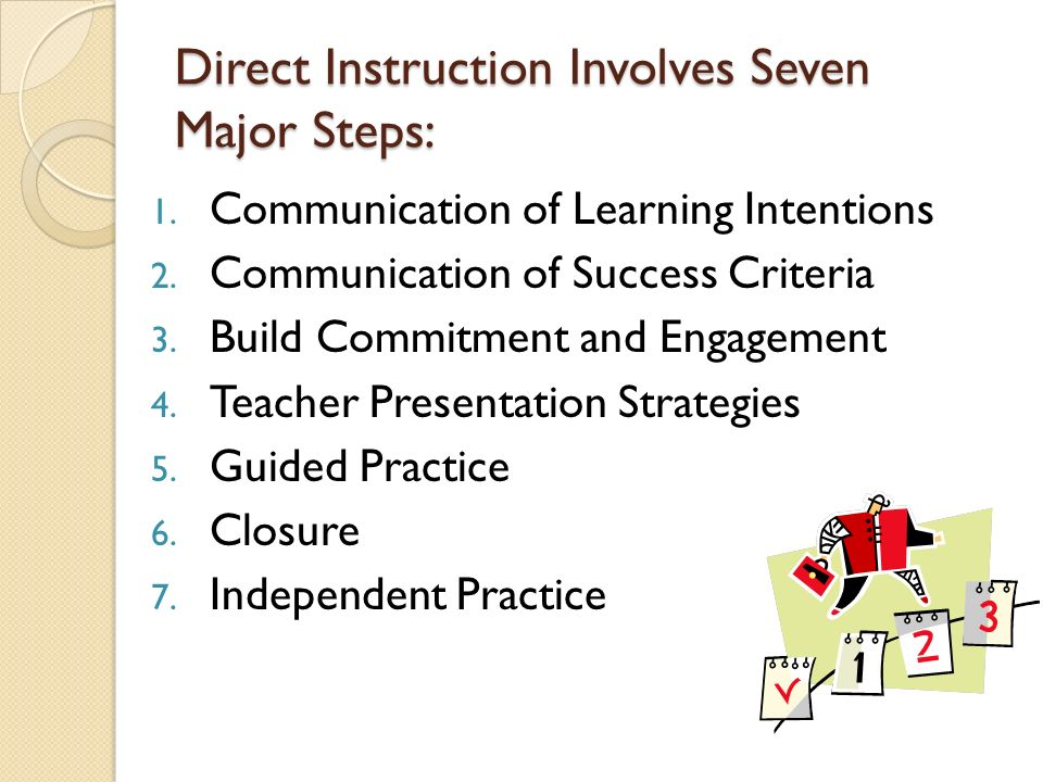 Direct Instruction Involves Seven Major Steps: