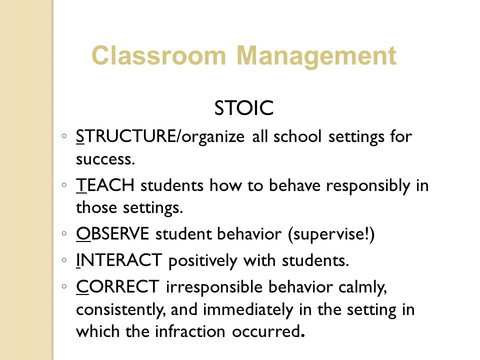 Classroom Management STOIC