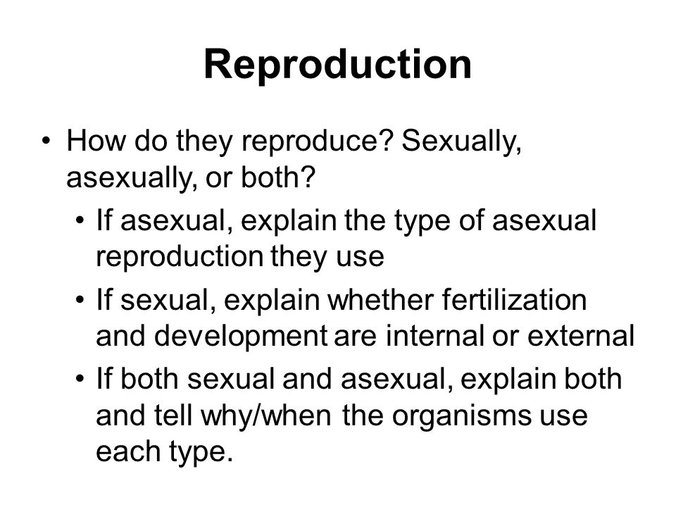 Reproduction How do they reproduce Sexually, asexually, or both