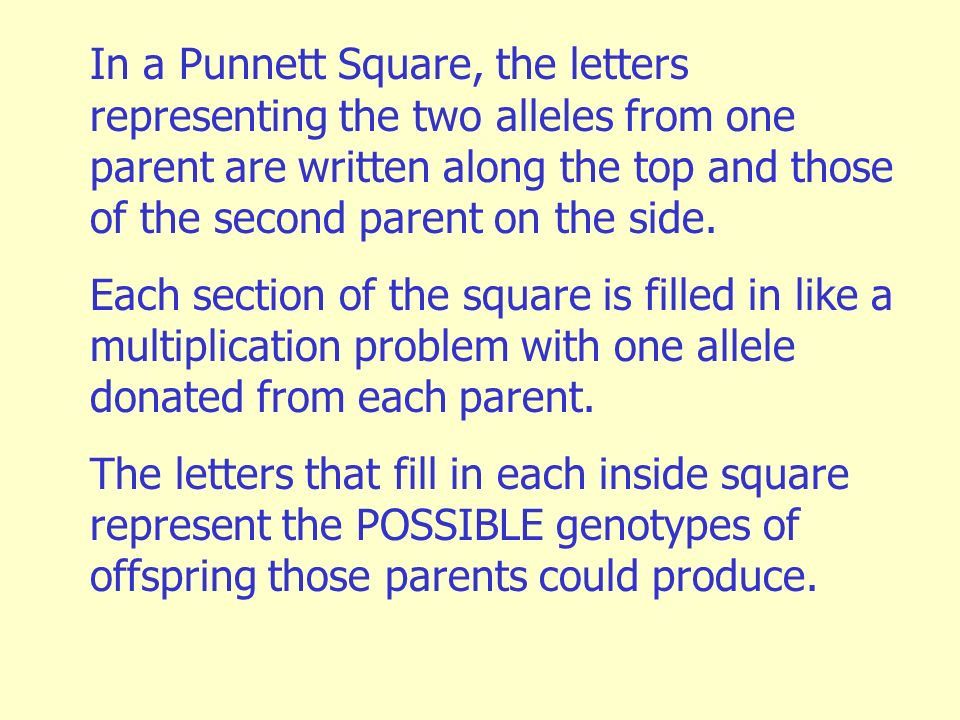 In a Punnett Square, the letters representing the two alleles from one parent are written along the top and those of the second parent on the side.