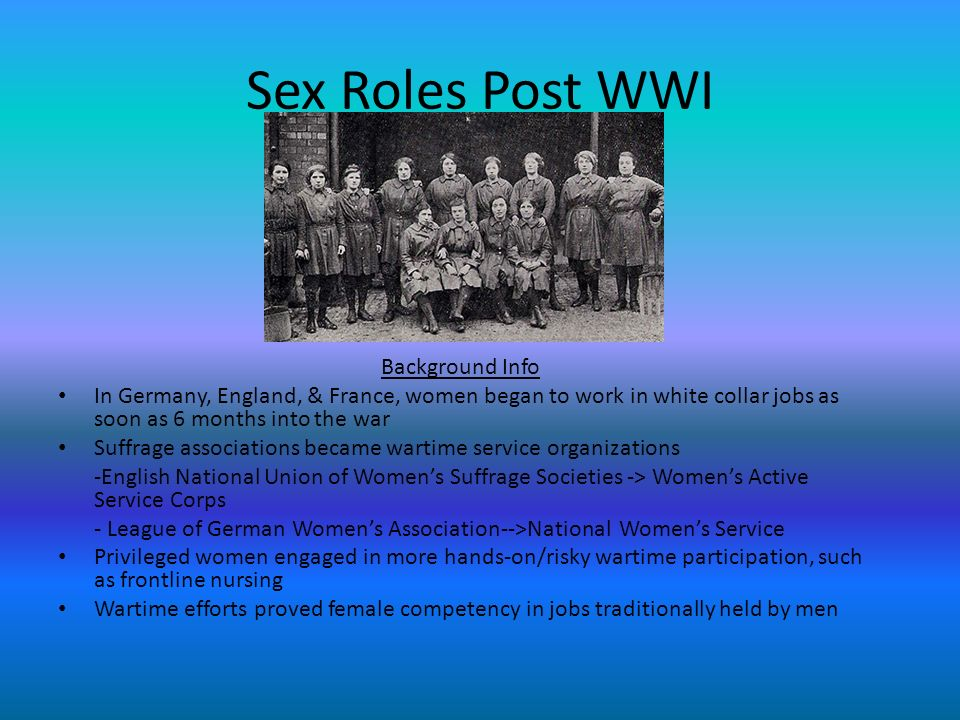 Sex Roles Post WWI Background Info
