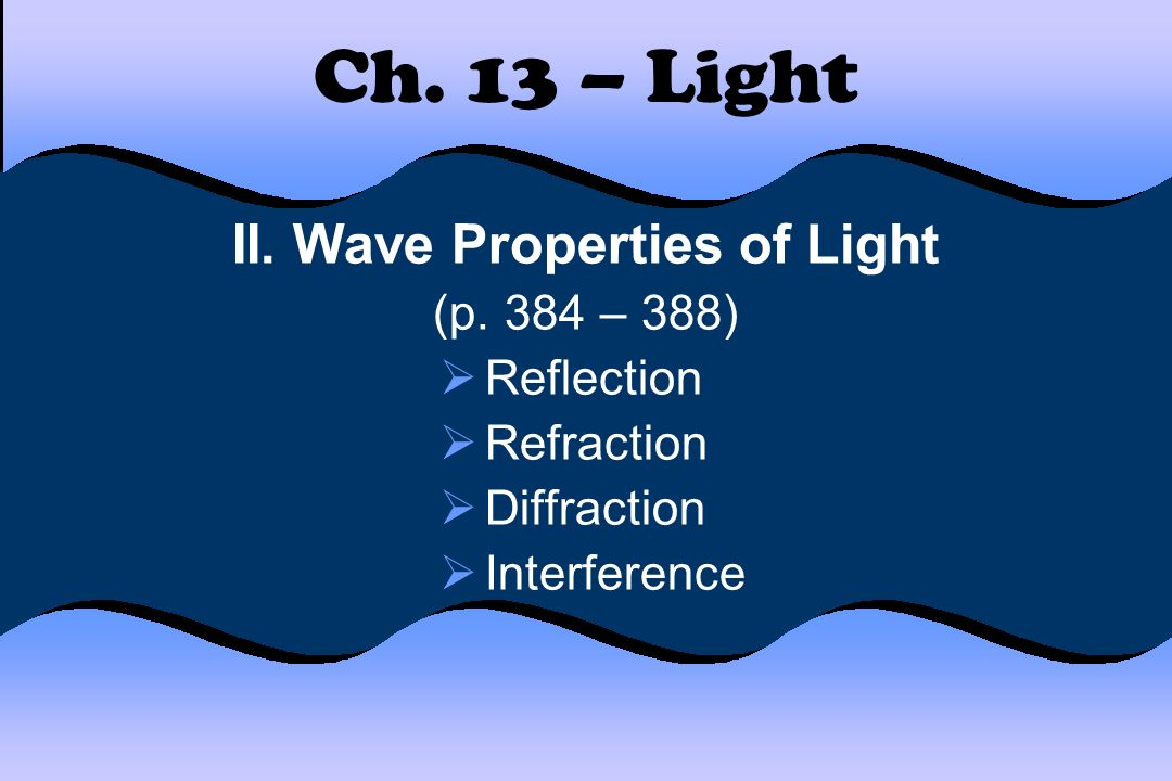 2 properties of light ems Light of composite wavelengths (natural sunlight) disperses into a visible spectrum passing through a prism, because of the wavelength-dependent refractive index of the prism material  that is, each component wave within the composite light is bent a different amount.