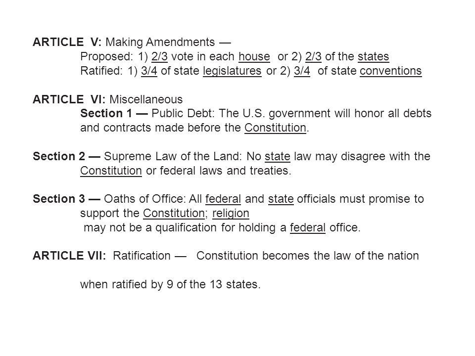 ARTICLE V: Making Amendments —