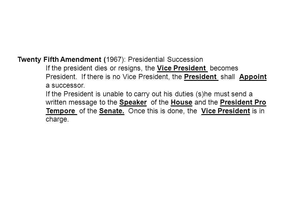 Twenty Fifth Amendment (1967): Presidential Succession