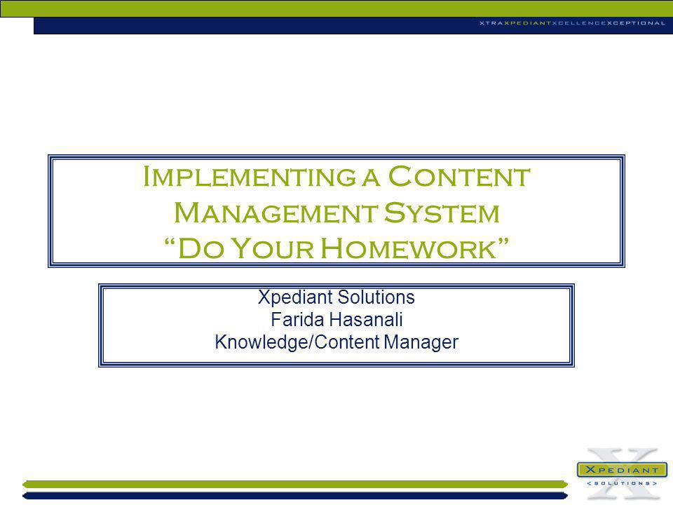 Implementing a Content Management System Do Your Homework