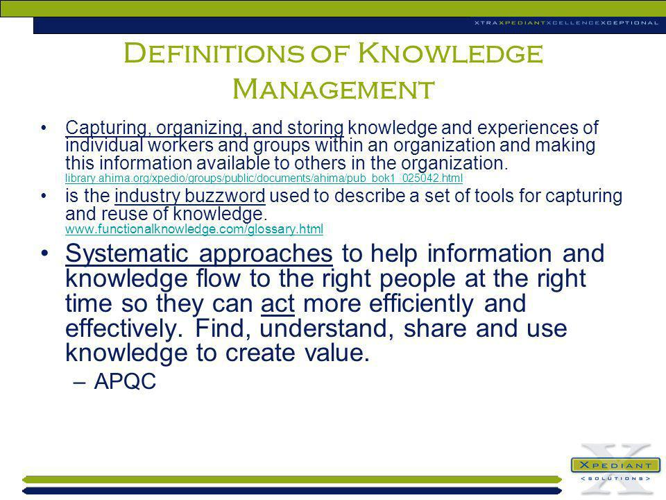 Definitions of Knowledge Management