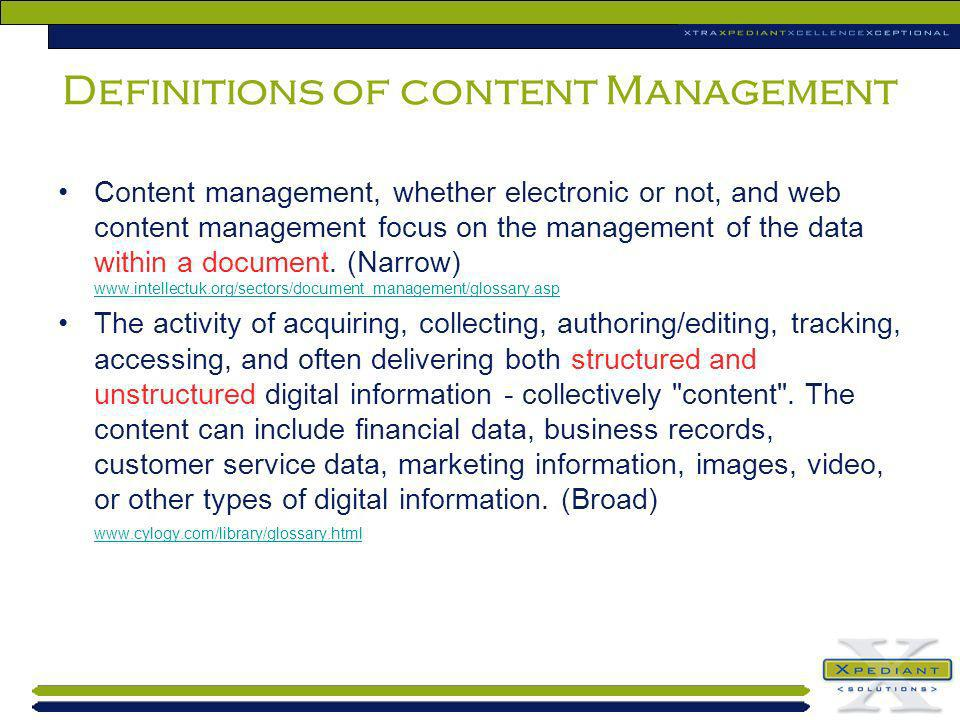 Definitions of content Management