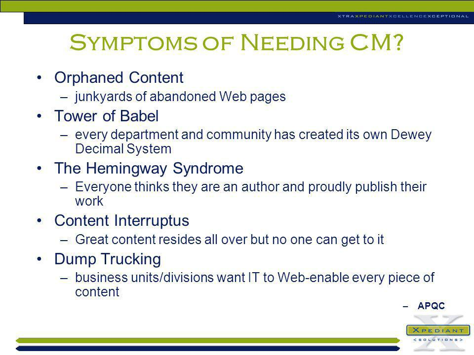Symptoms of Needing CM Orphaned Content Tower of Babel