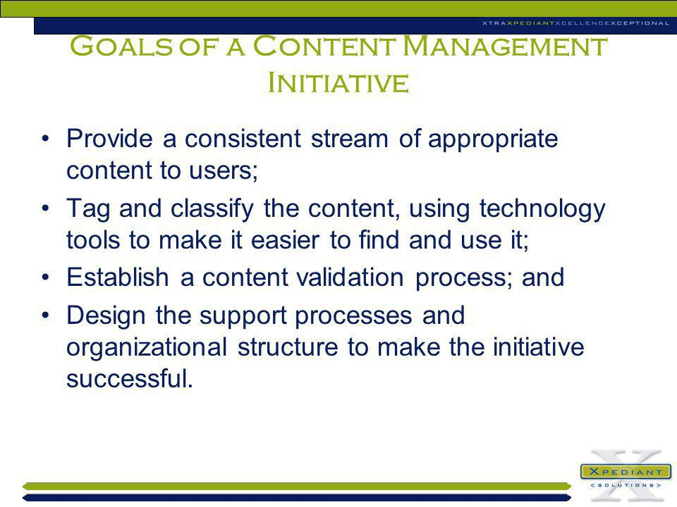 Goals of a Content Management Initiative