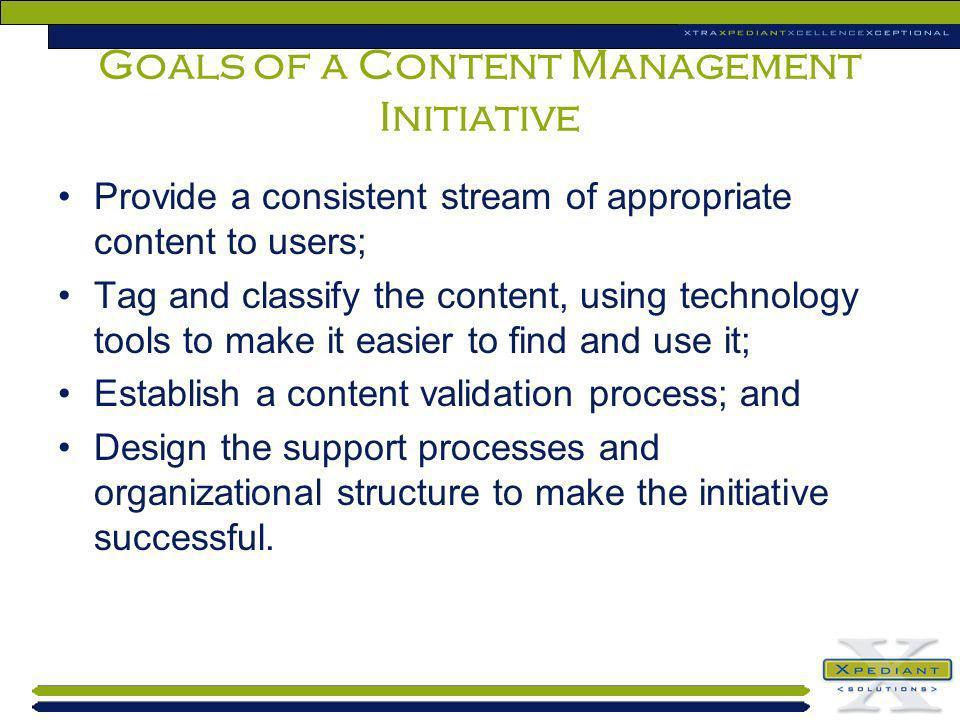 Goals of a Content Management Initiative