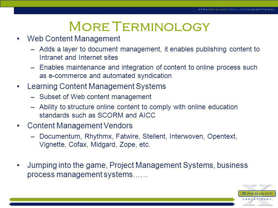More Terminology Web Content Management