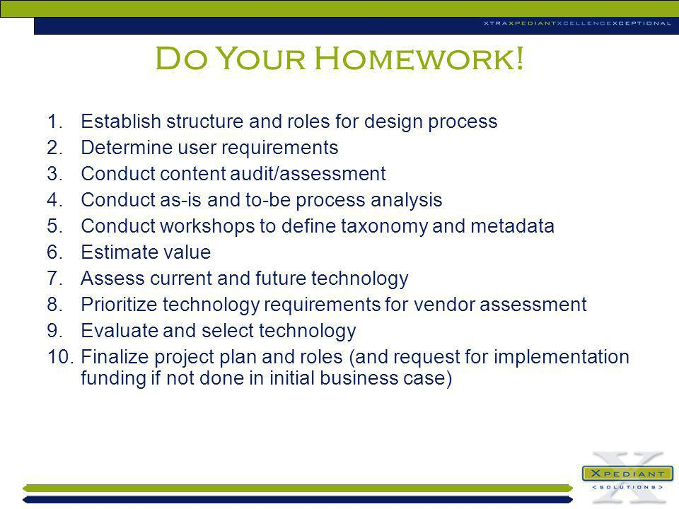 Do Your Homework! Establish structure and roles for design process