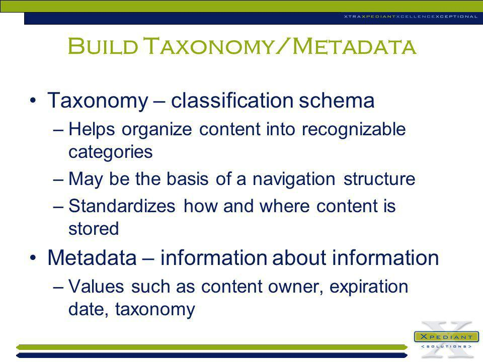 Build Taxonomy/Metadata