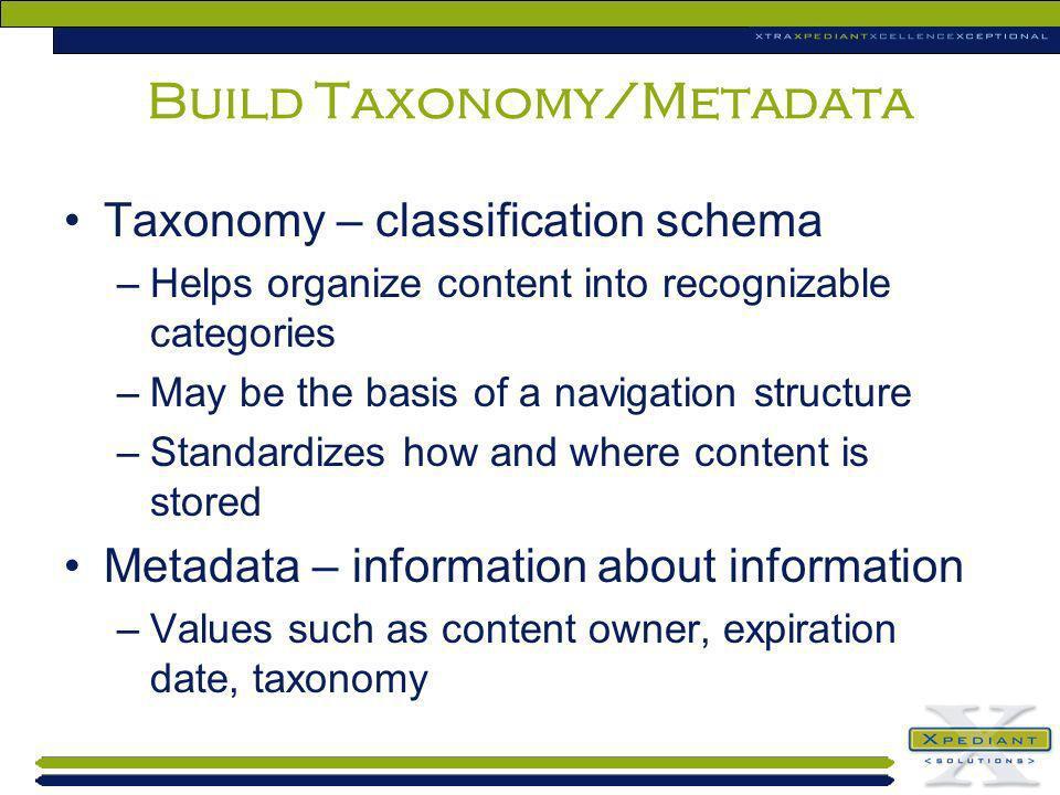 Build Taxonomy/Metadata