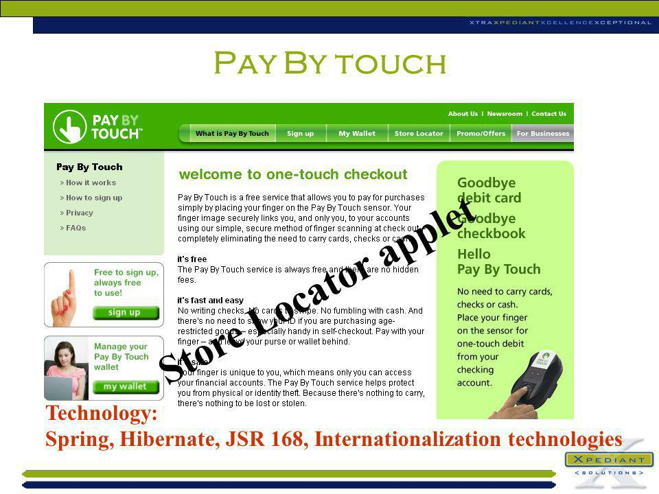 Store Locator applet Pay By touch Technology: