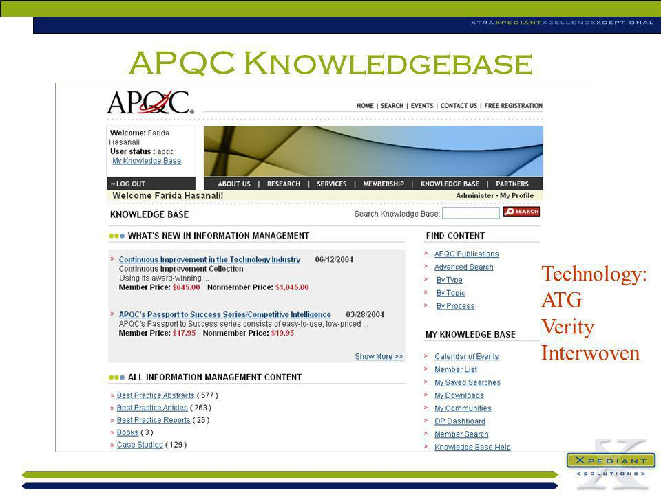 APQC Knowledgebase Technology: ATG Verity Interwoven