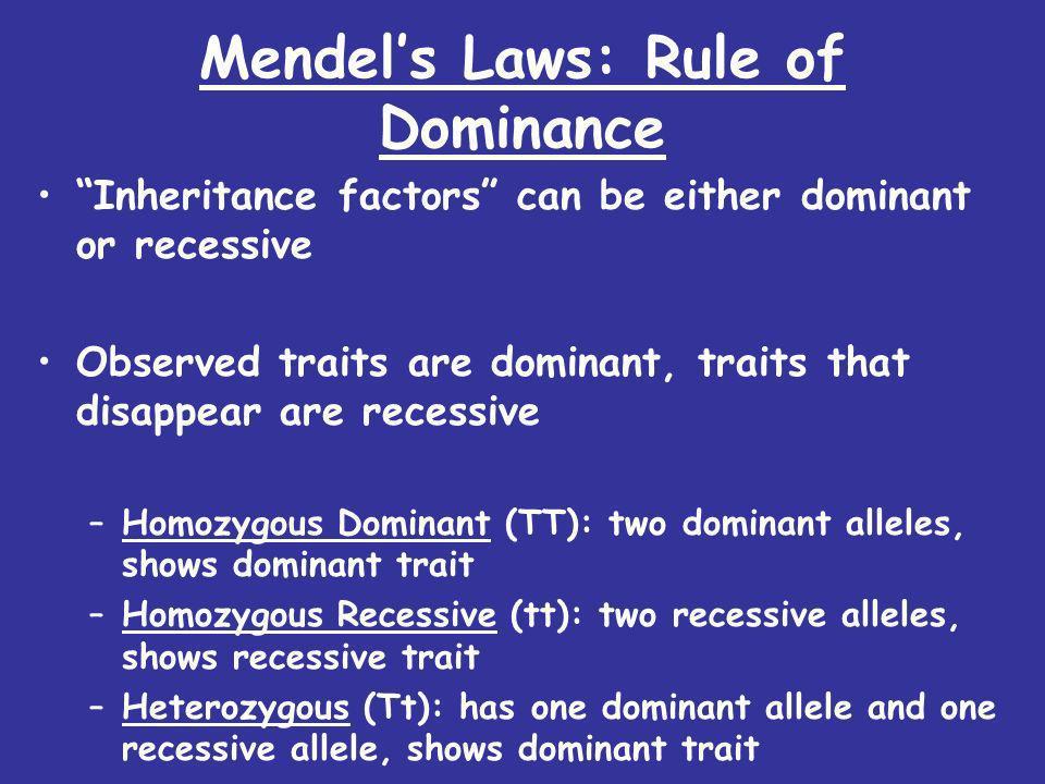 Mendel's Laws: Rule of Dominance