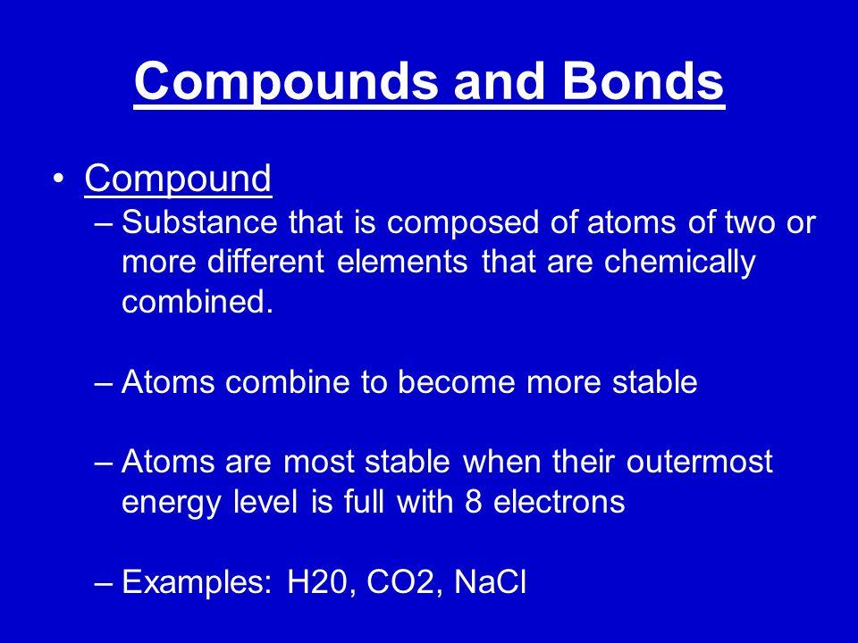 Compounds and Bonds Compound