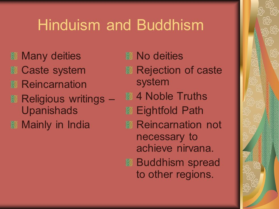 Hinduism and Buddhism Many deities Caste system Reincarnation
