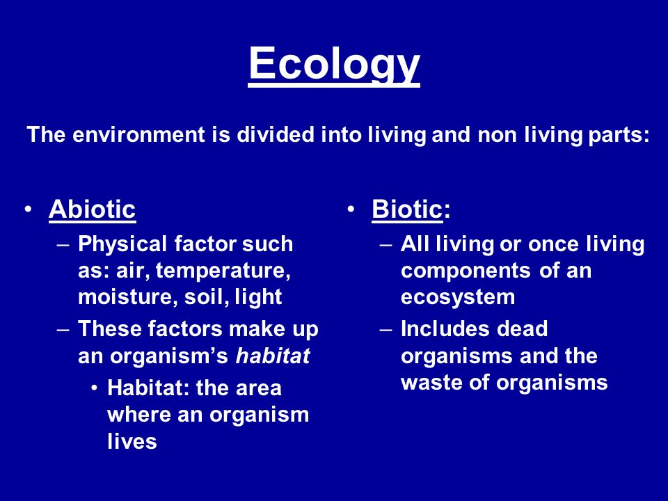 Ecology Abiotic Biotic: