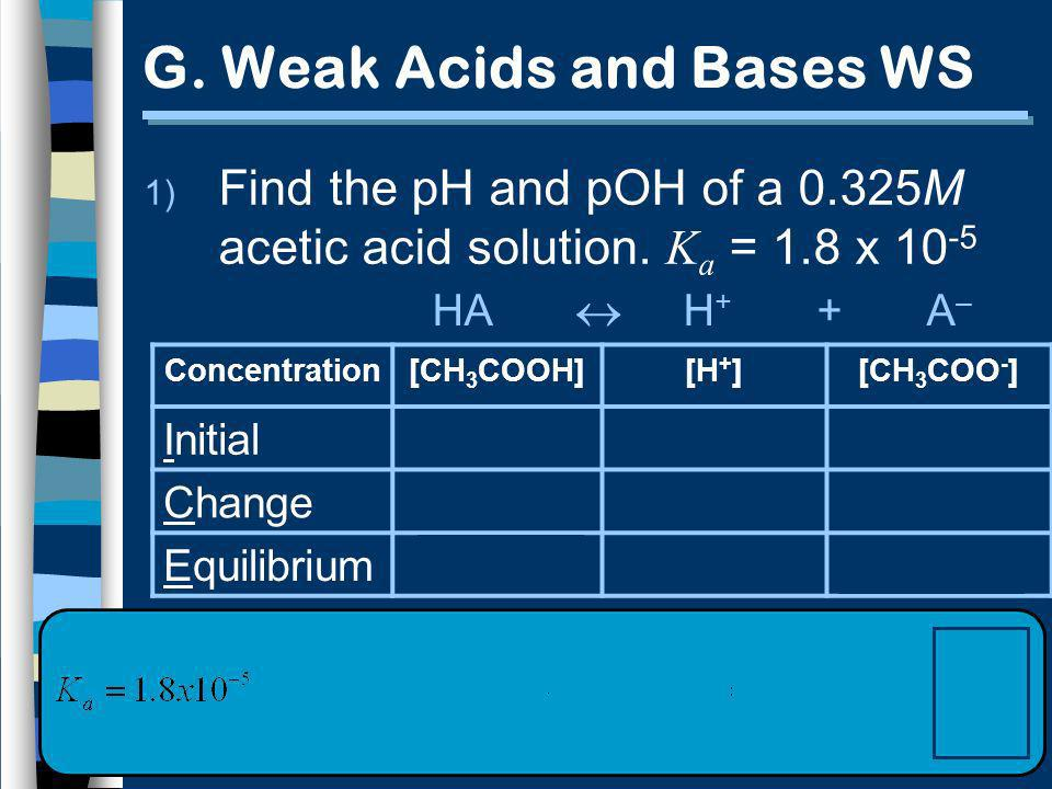 G. Weak Acids and Bases WS