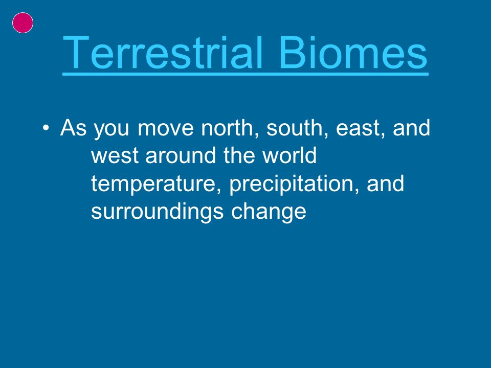 Terrestrial Biomes As you move north, south, east, and west around the world temperature, precipitation, and surroundings change.