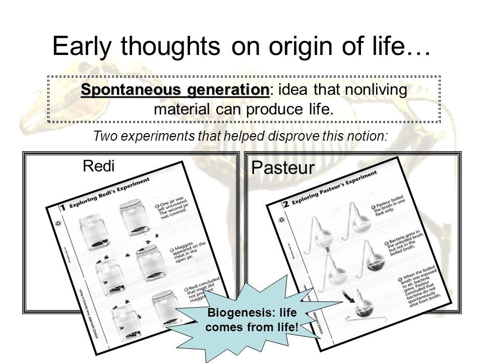 Early thoughts on origin of life…