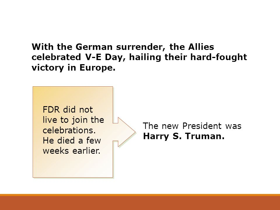 With the German surrender, the Allies celebrated V-E Day, hailing their hard-fought victory in Europe.