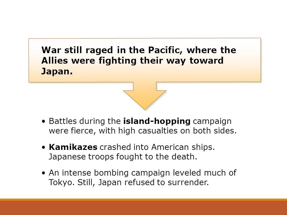 War still raged in the Pacific, where the Allies were fighting their way toward Japan.