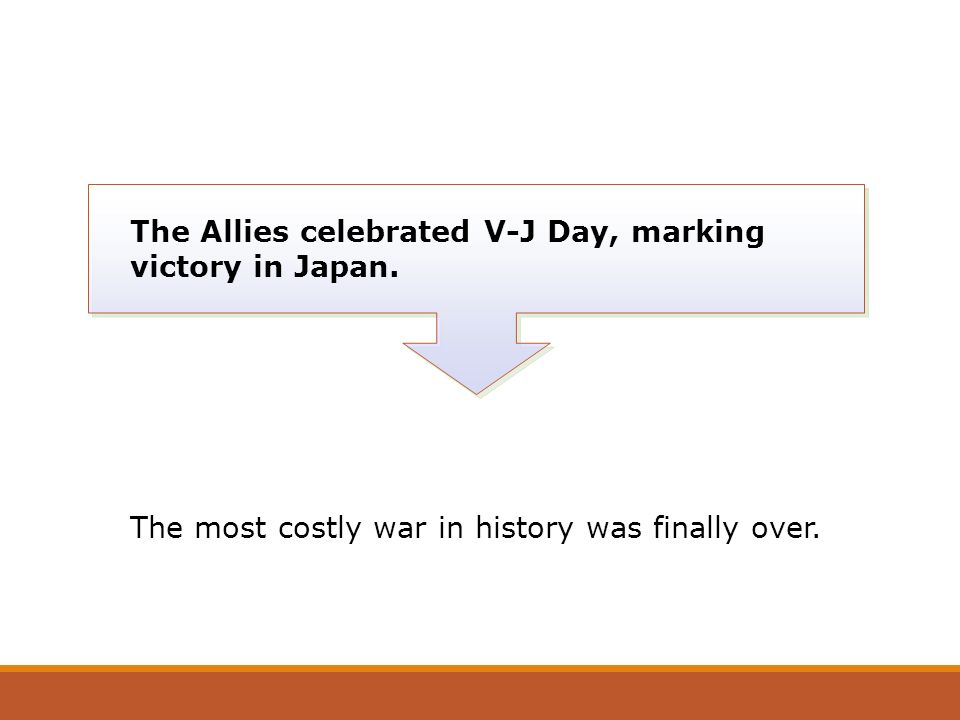 The Allies celebrated V-J Day, marking victory in Japan.