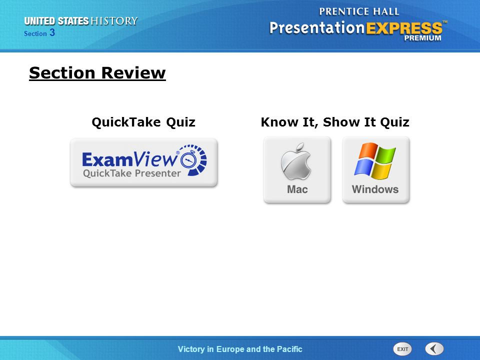 Section Review QuickTake Quiz Know It, Show It Quiz 20