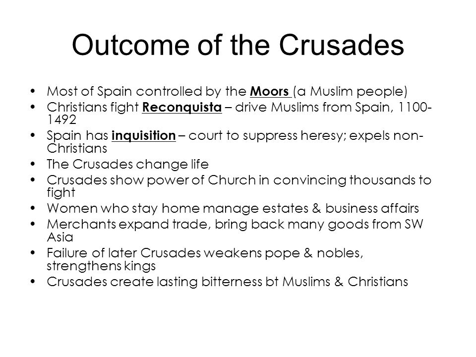 Outcome of the Crusades