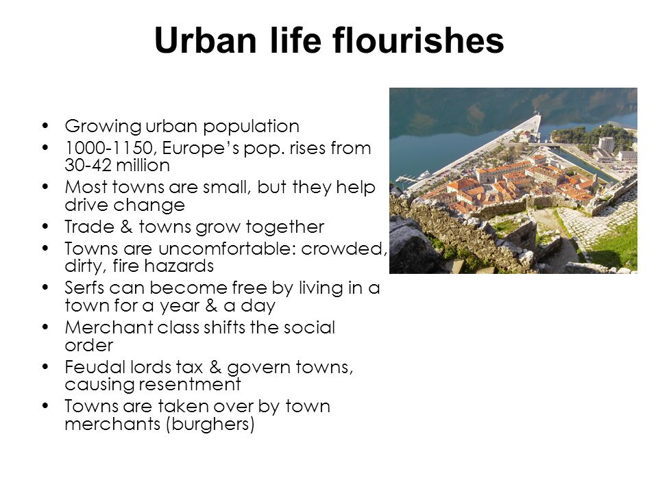 Urban life flourishes Growing urban population