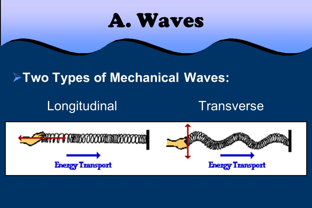 A. Waves Two Types of Mechanical Waves: Longitudinal Transverse