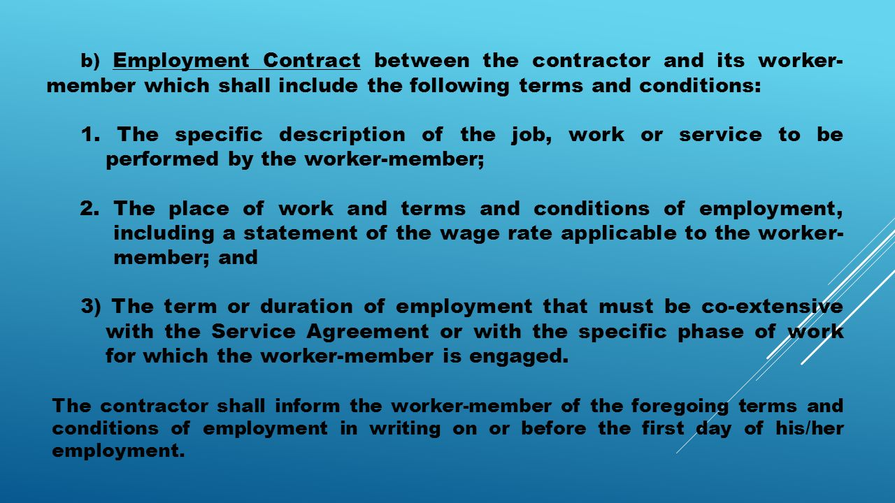 Salient features of the revised irr of r a ppt download for Statement of terms and conditions of employment template