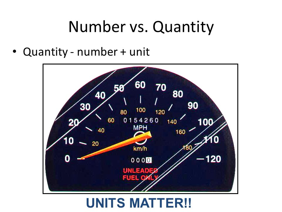 Number vs. Quantity Quantity - number + unit UNITS MATTER!!