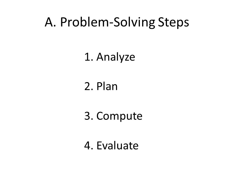 A. Problem-Solving Steps