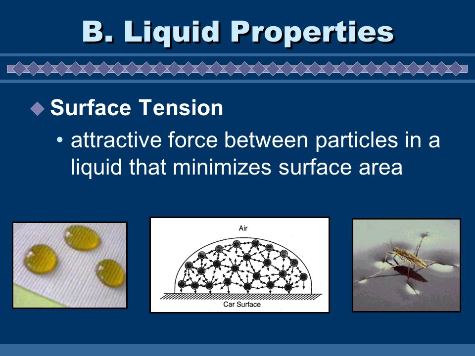 surface tension property of liquids This lesson continues to discuss properties common to liquids surface tension and capillary action are explained in terms of intermolecular attractions (coh.