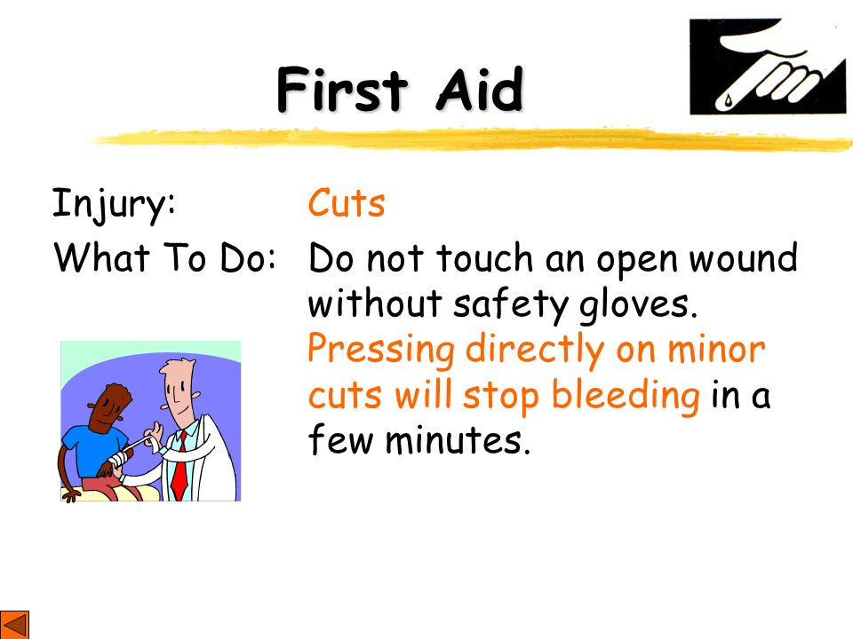First Aid Injury: Cuts.