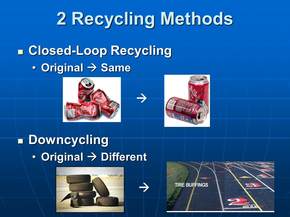 2 Recycling Methods Closed-Loop Recycling Downcycling  