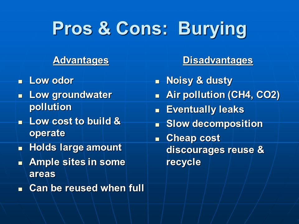 Pros & Cons: Burying Advantages Low odor Low groundwater pollution
