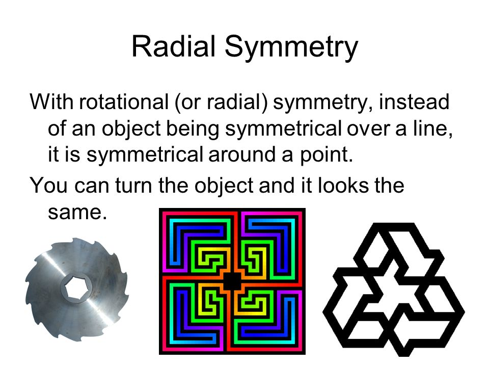 Radial Symmetry With rotational (or radial) symmetry, instead of an object being symmetrical over a line, it is symmetrical around a point.