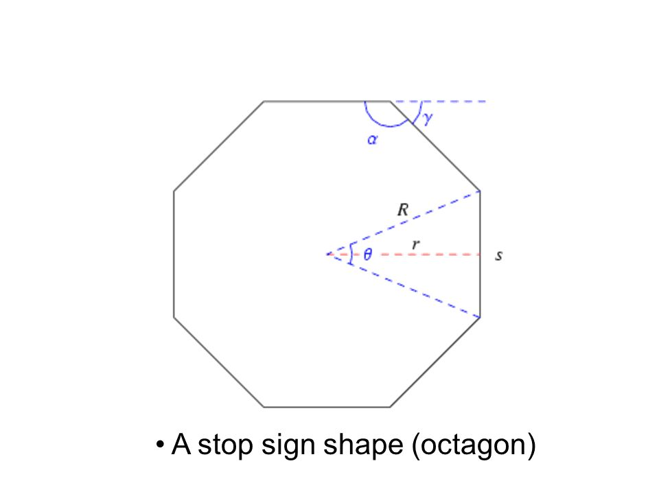 A stop sign shape (octagon)