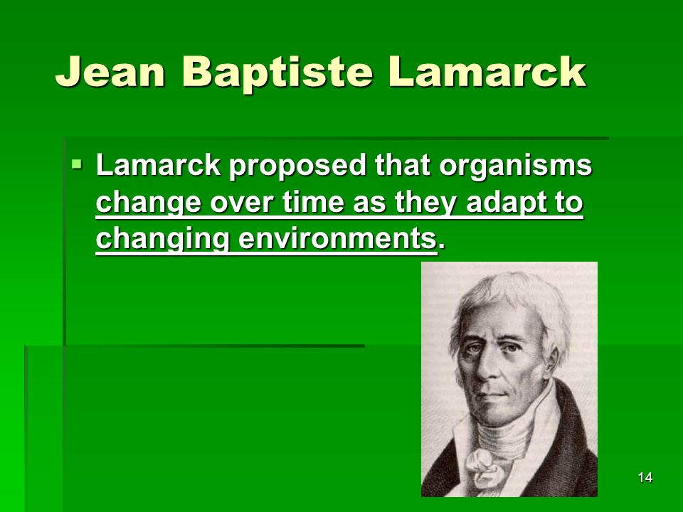 Jean Baptiste Lamarck Lamarck proposed that organisms change over time as they adapt to changing environments.
