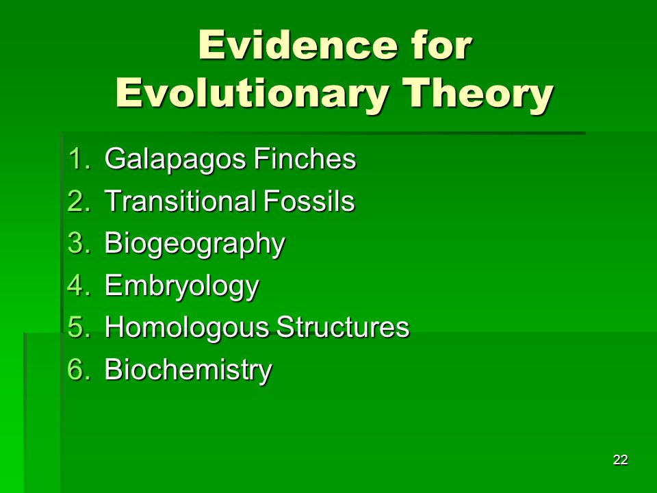 Evidence for Evolutionary Theory