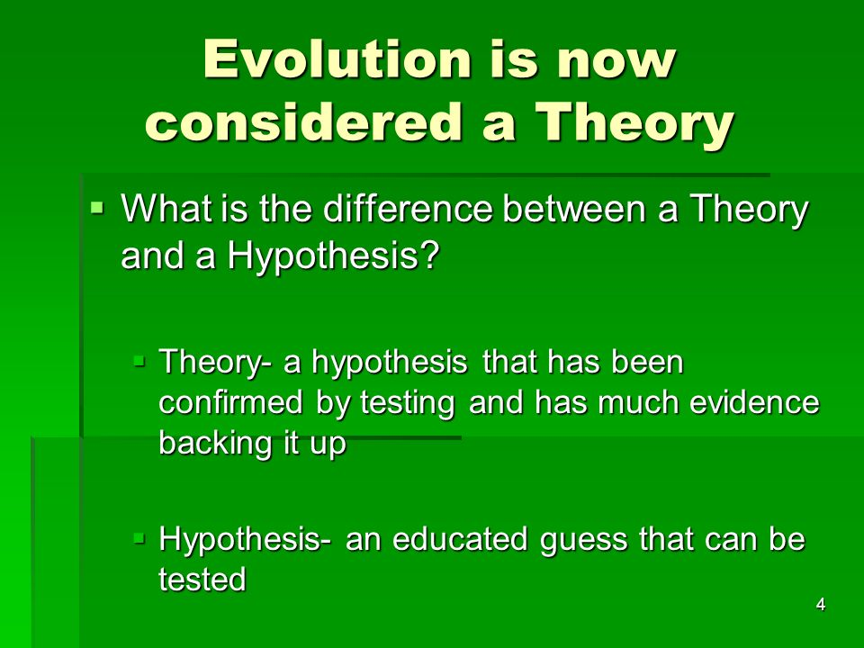 Evolution is now considered a Theory