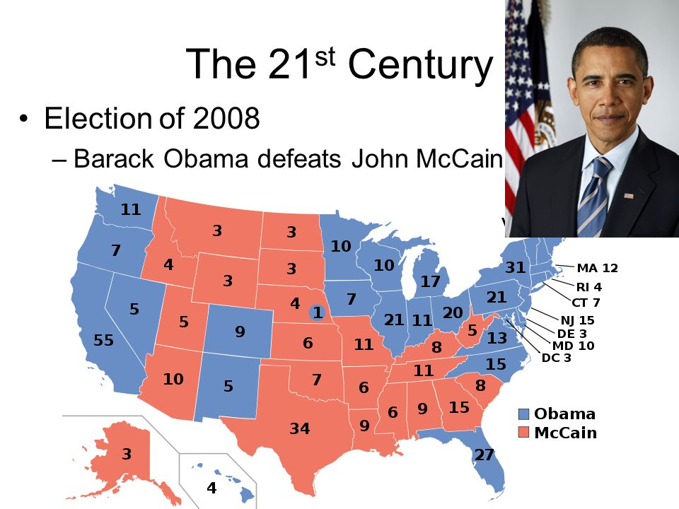 The 21st Century Election of 2008 Barack Obama defeats John McCain