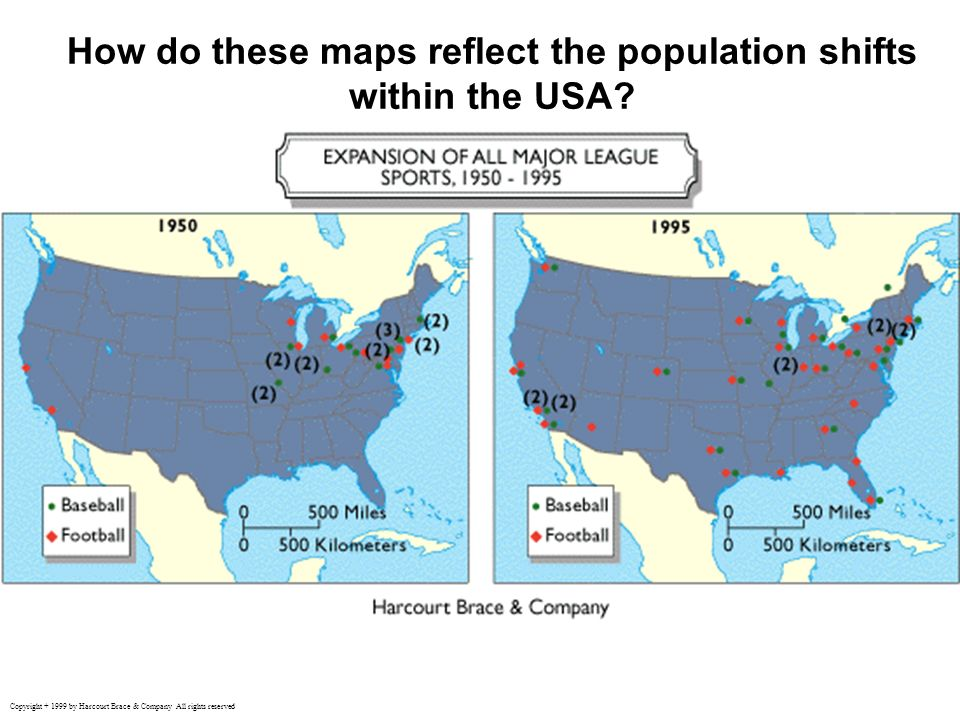 How do these maps reflect the population shifts within the USA